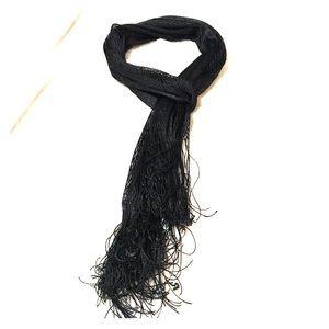 Black Metallic mesh scarf with fringe ends